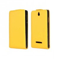 Чехол книжка вертикальная на пластиковой основе с магнитной защелкой для Sony Xperia E dual Желтый