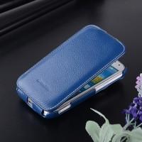 Кожаный чехол вертикальная книжка для Samsung Galaxy K Zoom Синий