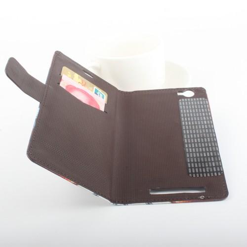 Чехол горизонтальная книжка подставка на клеевой основе с отсеком для карт и полноповерхностным принтом на магнитной защелке для Homtom HT6