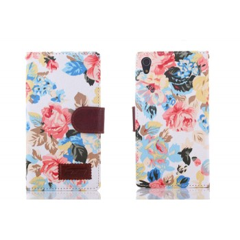 Чехол портмоне подставка на силиконовой основе с полноповерхностным принтом и тканевым покрытием на магнитной защелке для Sony Xperia Z2