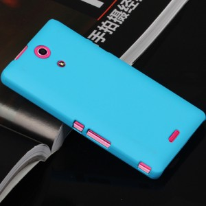 Пластиковый матовый металлик чехол для Sony Xperia ZR Голубой