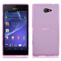 Ультратонкий 0.5 мм силиконовый матовый полупрозрачный чехол с точечной структурой для Sony Xperia M2 dual Розовый