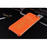 Точечный чехол смарт-флип с функциями оповещения для HTC One M9+ Оранжевый
