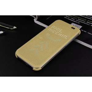 Точечный чехол смарт-флип с функциями оповещения для HTC One M9+ Бежевый