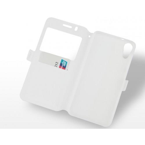 Чехол горизонтальная книжка подставка на силиконовой основе с окном вызова, отсеком для карт и полноповерхностным принтом на магнитной защелке для HTC Desire 825