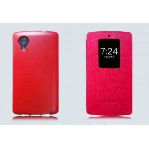 Чехол смарт флип с активным окном для Google Nexus 5 Красный