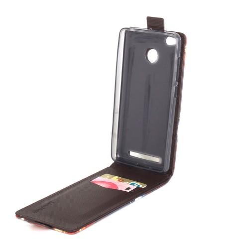 Чехол вертикальная книжка на силиконовой основе с полноповерхностным принтом с отсеком для карт на магнитной защелке для Xiaomi RedMi 3 Pro/3S