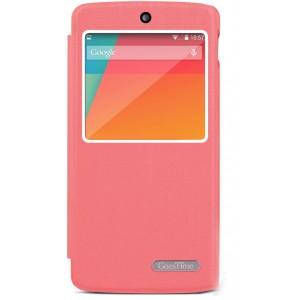 Чехол смарт флип подставка текстурный с окном вызова для Google Nexus 5 Розовый