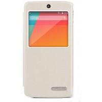 Чехол смарт флип подставка текстурный с окном вызова для Google Nexus 5 Белый
