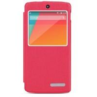Чехол смарт флип подставка текстурный с окном вызова для Google Nexus 5 Пурпурный
