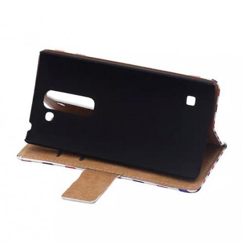 Чехол портмоне подставка на пластиковой основе с полноповерхностным принтом на магнитной защелке для LG Spirit