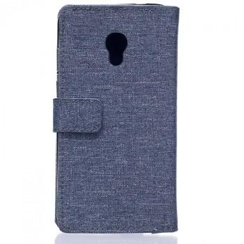 Чехол портмоне подставка на силиконовой основе с тканевым покрытием на магнитной защелке для ZTE Blade V7