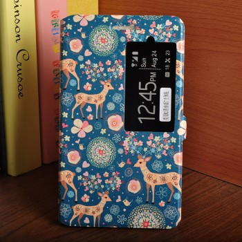 Чехол книжка подставка на транспарентной силиконовой основе с отсеком для карт, окном вызова и полноповерхностным принтом для Huawei MediaPad T2 7.0 Pro