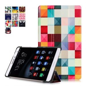 Сегментарный чехол книжка подставка на непрозрачной поликарбонатной основе с полноповерхностным принтом для Huawei MediaPad T2 7.0 Pro