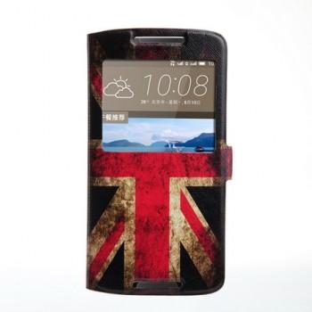 Чехол горизонтальная книжка подставка на силиконовой основе с отсеком для карт и полноповерхностным принтом на магнитной защелке для HTC Desire 828