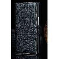 Кожаный чехол портмоне (нат. кожа крокодила) для Philips i908 Черный