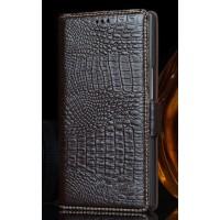 Кожаный чехол портмоне (нат. кожа крокодила) для Philips i908 Коричневый