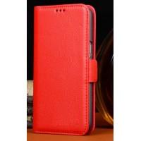 Кожаный чехол портмоне (нат. кожа) для Philips i908 Красный