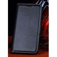 Кожаный чехол портмоне (нат. кожа) для Philips i908 Черный