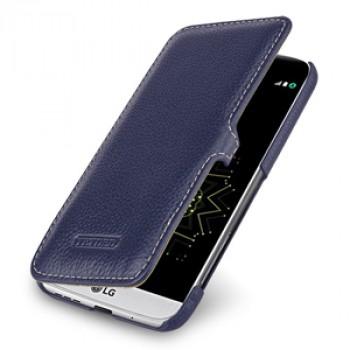 Кожаный чехол горизонтальная книжка (премиум нат. кожа) с крепежной застежкой для LG G5