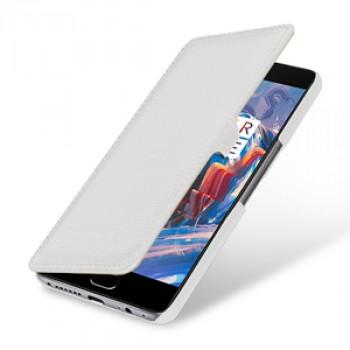Кожаный чехол горизонтальная книжка (премиум нат. кожа) с крепежной застежкой для OnePlus 3