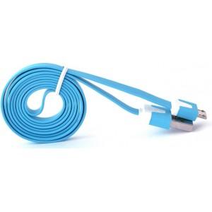 Кабель USB-Micro USB 2.0 силиконовый антизапутывающийся плоского сечения 1м Голубой