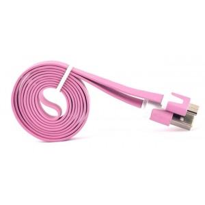 Кабель USB-Micro USB 2.0 силиконовый антизапутывающийся плоского сечения 1м Розовый