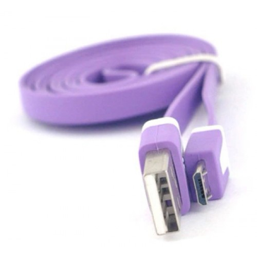 Кабель USB-Micro USB 2.0 силиконовый антизапутывающийся плоского сечения 1м