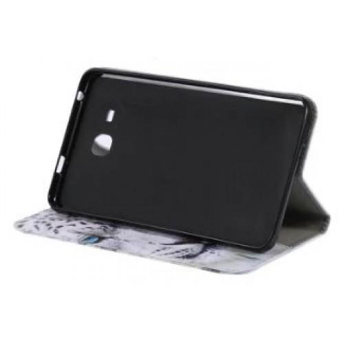 Чехол книжка подставка на непрозрачной силиконовой основе с отсеком для карт и полноповерхностным принтом для Samsung Galaxy Tab A 7 (2016)