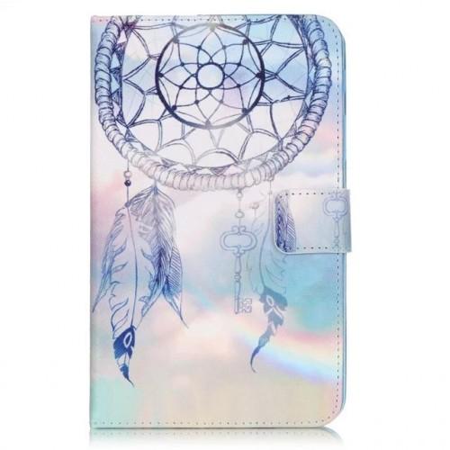 Чехол книжка подставка на непрозрачной силиконовой основе с магнитной защелкой, отсеком для карт и полноповерхностным принтом для Samsung Galaxy Tab A 7 (2016)