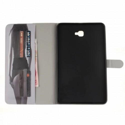 Чехол книжка подставка на непрозрачной силиконовой основе с отсеком для карт и полноповерхностным принтом для Samsung Galaxy Tab A 10.1 (2016)