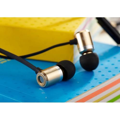Наушники вкладыши серия Steel Sound с антизапутывающимся плоским кабелем, регулятором громкости и функцией гарнитуры 20-20000Hz 16Ohm
