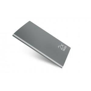 Эксклюзивное портативное зарядное устройство с LCD-экраном и разъемом экспресс заряда 2.1А 20000mAh в цельном безугловом алюминиевом корпусе Серый