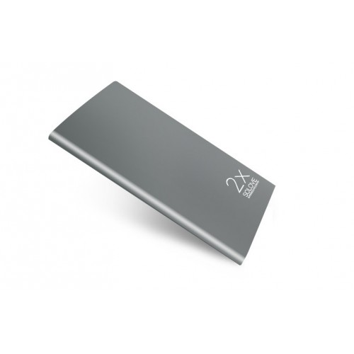 Эксклюзивное портативное зарядное устройство с LCD-экраном и разъемом экспресс заряда 2.1А 20000mAh в цельном безугловом алюминиевом корпусе