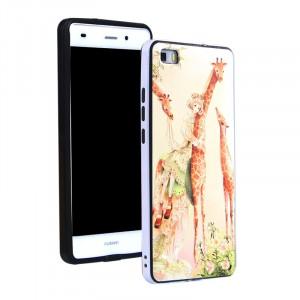 Двухкомпонентный силиконовый матовый непрозрачный чехол с поликарбонатным бампером и принтом для Huawei P8 Lite