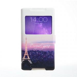 Чехол горизонтальная книжка подставка на силиконовой основе с окном вызова, полноповерхностным принтом и полоcой свайпа на магнитной защелке для Sony Xperia Z5 Compact