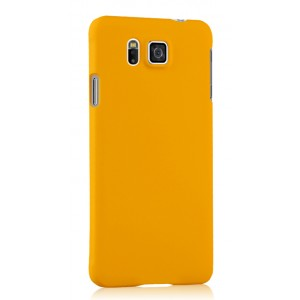 Пластиковый матовый непрозрачный чехол для Samsung Galaxy Alpha Желтый