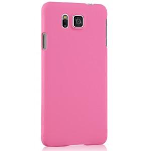 Пластиковый матовый непрозрачный чехол для Samsung Galaxy Alpha Розовый
