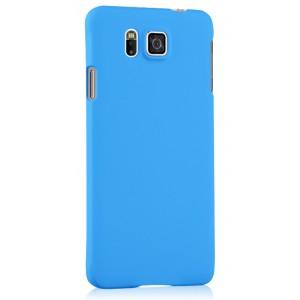Пластиковый матовый непрозрачный чехол для Samsung Galaxy Alpha Голубой