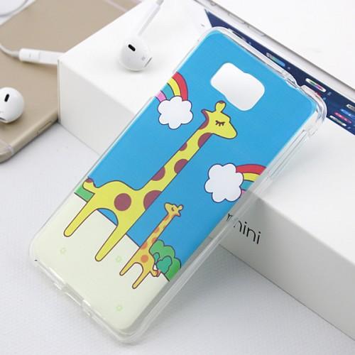 Силиконовый матовый дизайнерский чехол с принтом Жираф для Samsung Galaxy Alpha
