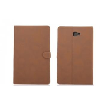 Винтажный чехол книжка подставка на непрозрачной поликарбонатной основе с магнитной защелкой и отсеком для карт для Samsung Galaxy Tab A 10.1 (2016) Коричневый
