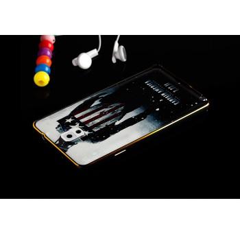 Двухкомпонентный чехол c металлическим бампером с золотой окантовкой, поликарбонатной накладкой и УФ-принтом для Samsung Galaxy Note 3