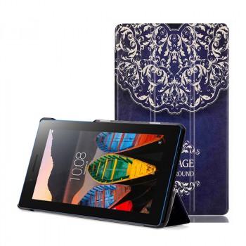 Сегментарный чехол книжка подставка на непрозрачной поликарбонатной основе с полноповерхностным принтом для Lenovo Tab 3 7