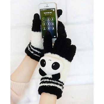 Сенсорные трехпальцевые перчатки шерсть/акрил дизайн Котик