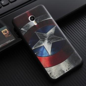 Силиконовый матовый непрозрачный чехол с объемно-рельефным принтом для Meizu MX6