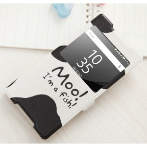 Чехол горизонтальная книжка подставка на силиконовой основе с окном вызова, отсеком для карт и полноповерхностным принтом на магнитной защелке для Sony Xperia Z5 Premium
