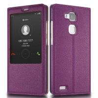 Кожаный чехол смартфлип подставка на пластиковой основе с увеличенным окном вызова для Huawei Mate 7 Фиолетовый