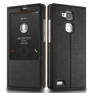 Кожаный чехол смартфлип подставка на пластиковой основе с увеличенным окном вызова для Huawei Mate 7 Черный
