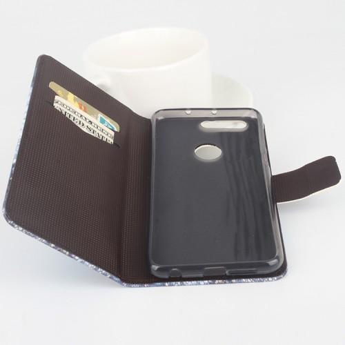Чехол горизонтальная книжка подставка на силиконовой основе с отсеком для карт и полноповерхностным принтом на магнитной защелке для Huawei Honor 8