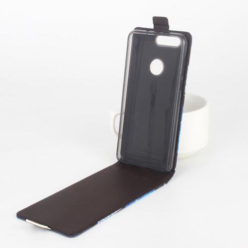 Чехол вертикальная книжка на силиконовой основе с полноповерхностным принтом на магнитной защелке для Huawei Honor 8